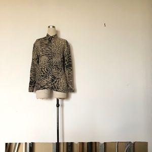 Mondi - Vintage Leopard Print Button Up Blouse